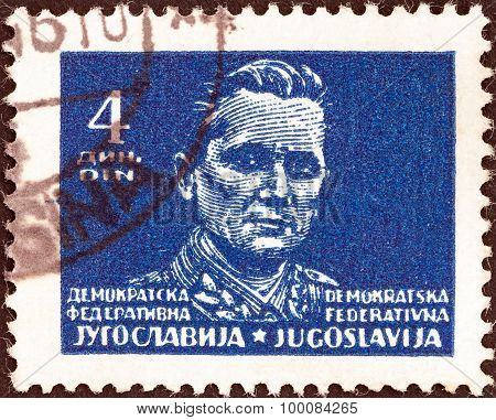 YUGOSLAVIA - CIRCA 1945: A stamp printed in Yugoslavia shows Marshal Tito, circa 1945.