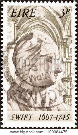 IRELAND - CIRCA 1967: A stamp printed in Ireland shows Jonathan Swift (1667-1745)
