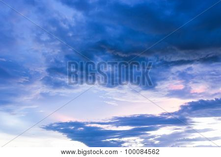 Magic Of Colour Sky And Cloud At Twilight Time Background