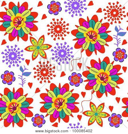 Cute Colorful  Seamless Pattern With Abstract Red Flowers And Seamless Pattern In Swatch Menu, Vecto