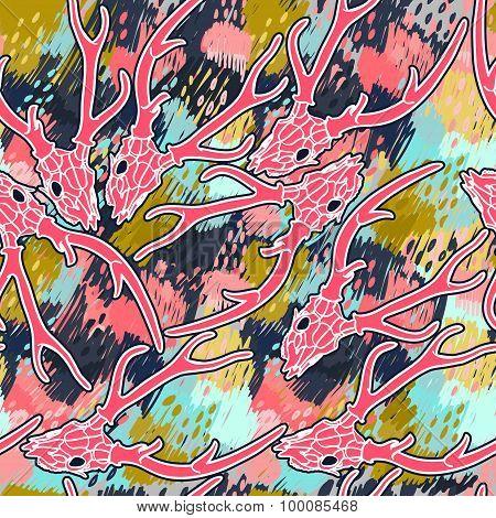 Deer  skull abstract vector seamless pattern..Halloween.Seamless abstract pattern with grunge textur
