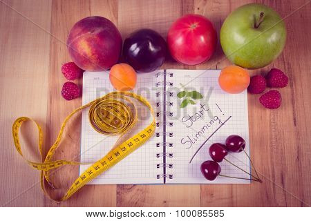 Vintage Photo, Fruits, Vegetables And Centimeter With Notebook, Slimming And Healthy Food