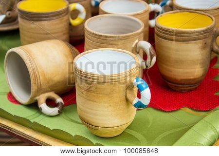 Collection Of Colorful Cups For Sale At The Bazaar, Kitchen Accessories