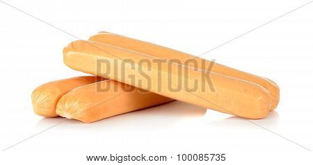 Chicken Sausage Isolated On The White Background