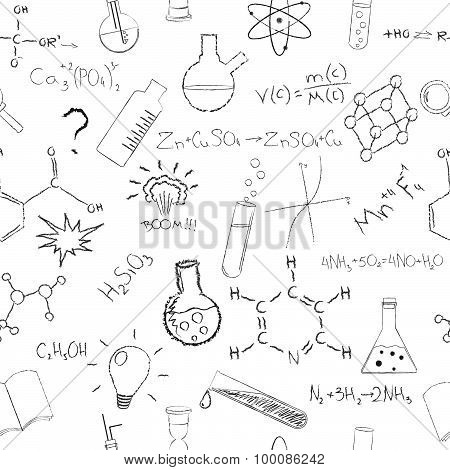 Chemistry formulas and flasks on white background. Seamless pattern. Vector illustration