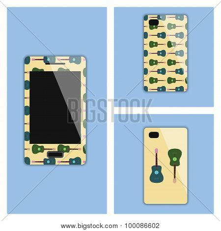 Mobile Phone Cover With Guitars