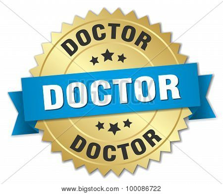 Doctor 3D Gold Badge With Blue Ribbon