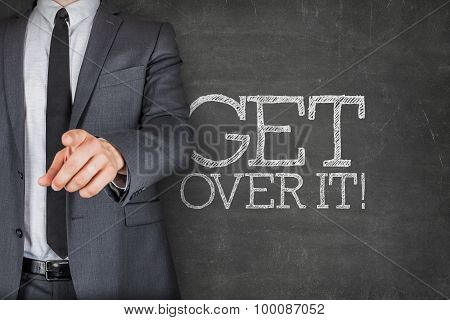 Get over it on blackboard with businessman