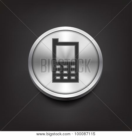 Phone icon on silver button.