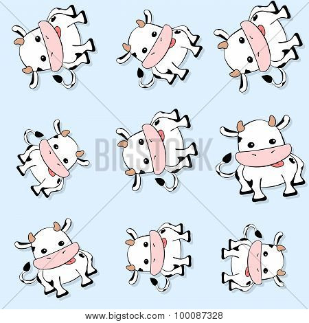 Seamless Cow Pattern With Drop Shadow On Blue