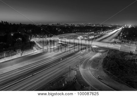 San Diego 405 Freeway black and white in Los Angeles, California.