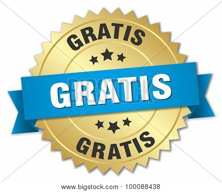 Gratis 3D Gold Badge With Blue Ribbon