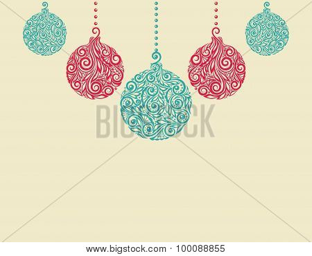 Christmas Background With Christmas Balls. Great For Greeting Cards
