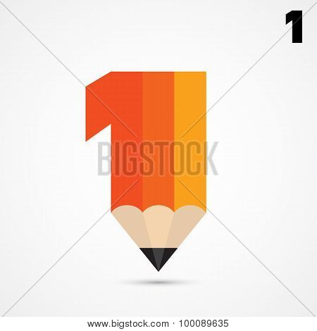 Creative Pencil Symbol And Number One Sign,business And Education Idea,abstract Background.