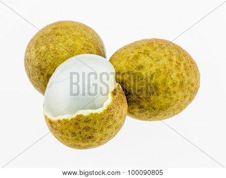 Fresh Longan Fruit  Isolated On White Background.