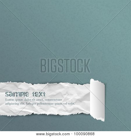 Blue vector background with crumpled ripped rolled paper and space for your message
