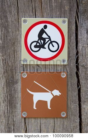 Forbidden To Cycle An Dog On A Leash