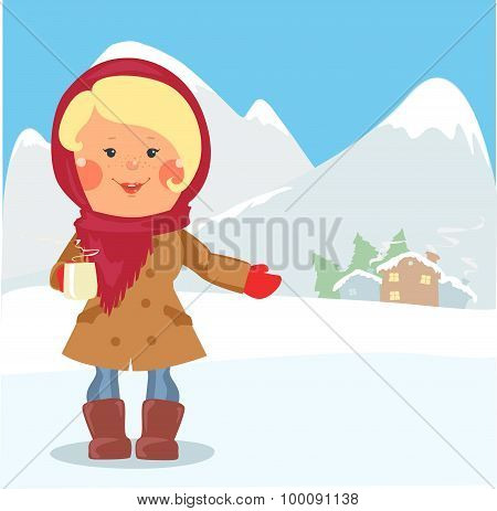 Cartoon people - Woman with cup of hot chocolate