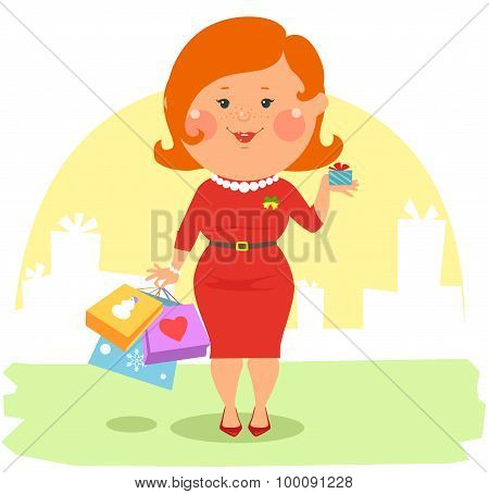 Cartoon people - Couple with shopping bags