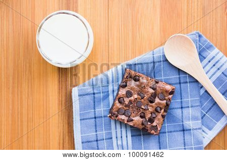 Top view of Cookies and milk on a beautiful morning put on the table ready to eat. Perfect compositi