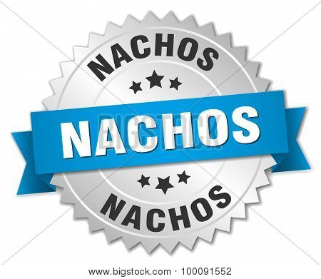 Nachos 3D Silver Badge With Blue Ribbon