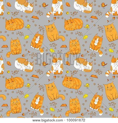 cute cats seamless pattern. pets vector background