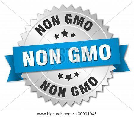 Non Gmo 3D Silver Badge With Blue Ribbon