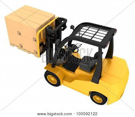 Forklift truck with boxes on wooden pallet.