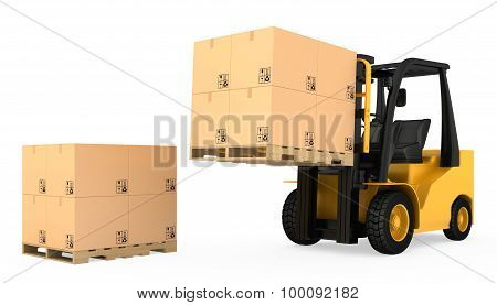 Forklift truck with cardboard boxes on wooden pallet
