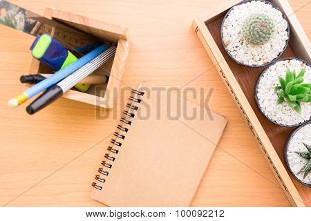 book that the table with stationery in a box placed beautifully vintage style