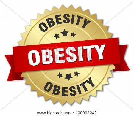 Obesity 3D Gold Badge With Red Ribbon