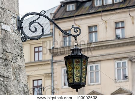 Street old lantern in Krakow, Poland.