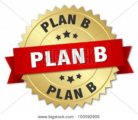 Plan B 3D Gold Badge With Red Ribbon