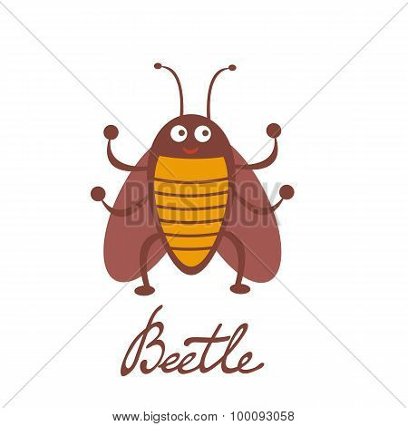Cute colorful beetle character illustration