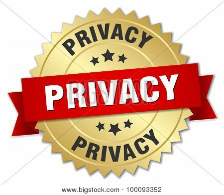 Privacy 3D Gold Badge With Red Ribbon
