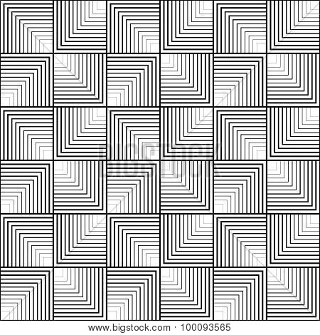 Black And White Geometric Seamless Pattern With Line, Abstract Background.