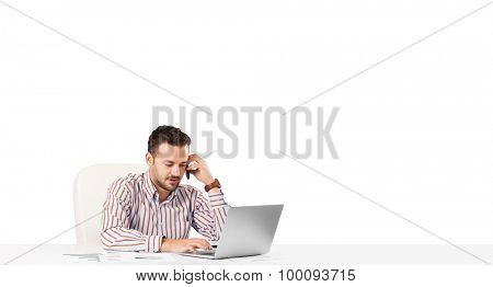 Attractive young businessman with plain white copy space