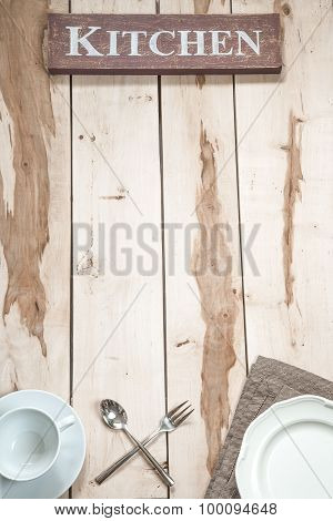 Kitchen Tools On The Wooden Desk