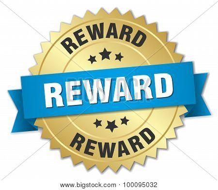Reward 3D Gold Badge With Blue Ribbon