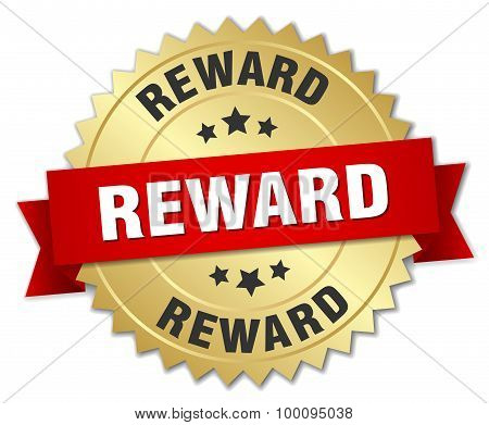 Reward 3D Gold Badge With Red Ribbon