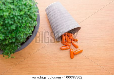 Antibiotics on a wooden table Vintage Photos