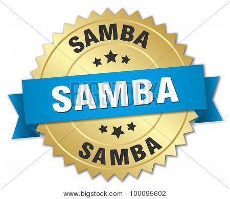 Samba 3D Gold Badge With Blue Ribbon