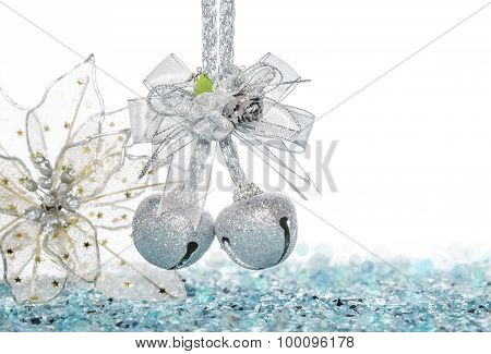 Luxury Silver Jingle Bells And Flower On Snow