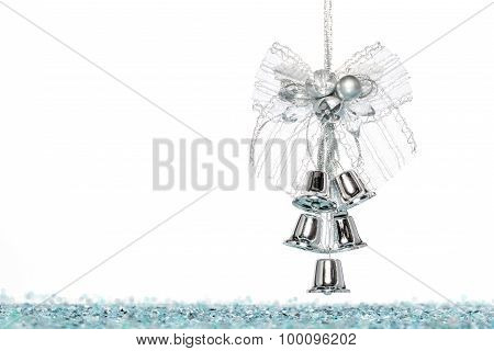Luxury Silver Jingle Bells With Snow, Hanging Decoration