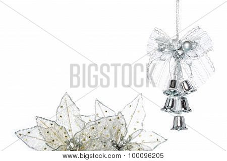 Luxury Silver Jingle Bells With Flower, Hanging Decoration