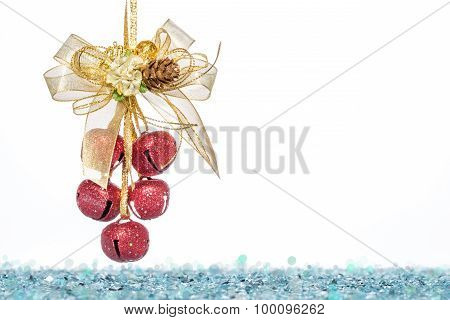 Luxury Red Jingle Bells, Ribbon Bowknot With Snow
