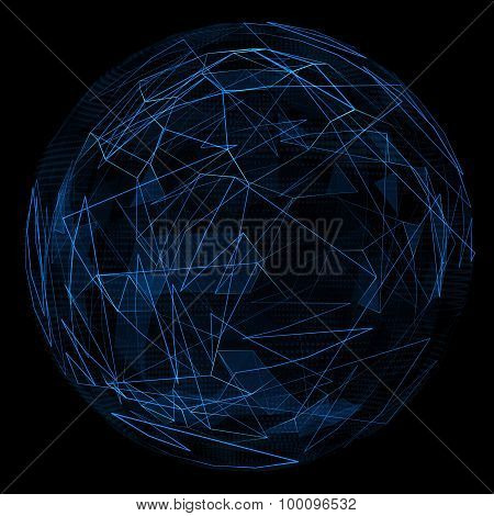 Abstract globe glow blue line.