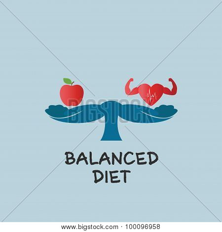 Vector Of Hands Measuring Healthy Food With Heart .concept Of Balanced Diet