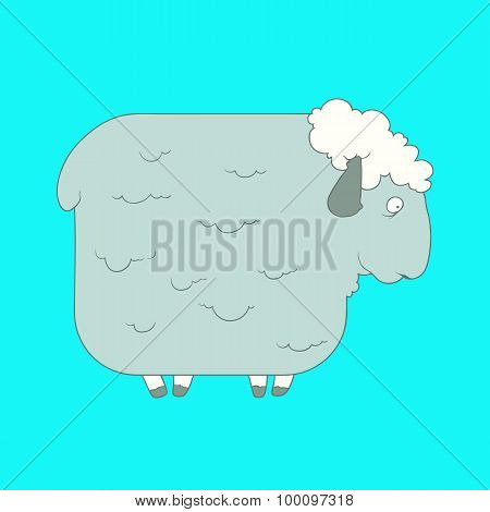 Flat hand drawn icon of a cute sheep