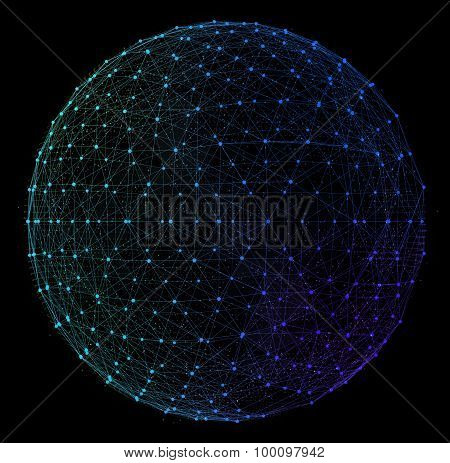 Abstract digital global network. Wire-frame illustration